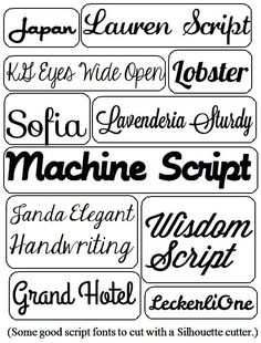 Not all fonts cut well on the Silhouette. Learn which ones are the best. Script, Sans Serif, and more!