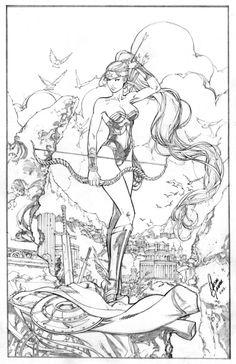Cesar Gaspar - Wonder Woman  Artemis  Comic Art