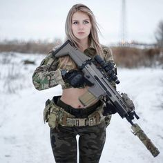 Sexy Winter Soldier With Hot Suit Armor and Weapon Pretty Girls, Cute Girls, Mädchen In Uniform, Military Girl, Female Soldier, Warrior Girl, Military Women, N Girls, Action Poses
