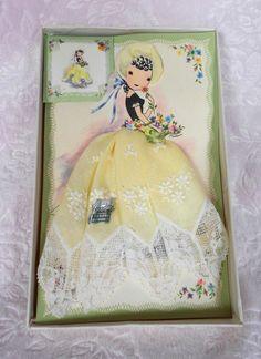 Vintage Yellow Embroidered Lace Lady Paper Doll Boxed Handkerchief Treasure Master Keepsake Hankie Switzerland Hanky Swiss Unused Tag Sachet.  via Etsy.