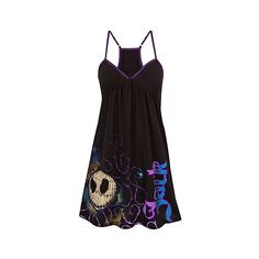 Racerback Jack Skellington Dress ($33) ❤ liked on Polyvore featuring dresses, tops, nightmare before christmas, christmas cocktail dresses, disney dress, christmas dresses, racerback dress and racer back dress