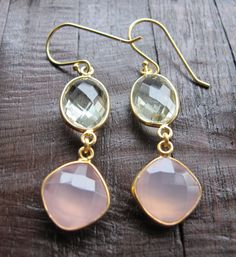 Pink Chalcedony and Green Amethyst Earrings Gold by Belesas, $58.99
