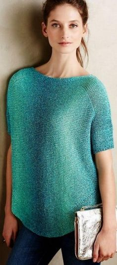 Пуловер связанный поперек спицами NÁVOD