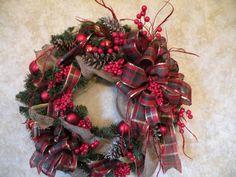 Christmas Wreath Burlap Christmas Wreath by KathysWreathShop, $64.99