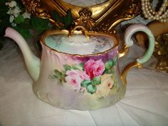 T&V - Limoges - France - Tea Pot - Sugar - Creamer - Hand Painted - Elegant…