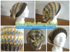 Thick Mesh Slouch Hat - Free Crochet pattern and Video tutorials for both the Right and Left handed.