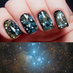 Chalkboard Nails: 31DC2013 Day 19: The Pleiades Star Cluster Galaxy Nails