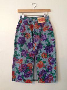 1980's BONGO Floral Print Denim Skirt