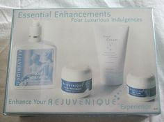 Rejuvenique Essential Enhancements Four Lotion Kit by Rejuvenique. $24.99. Convenient Zip Up cosmetic bag. As Seen on TV and endorsed by Rejuvenique and Linda Evans. Enriched with Vitamins E & C. Includes four high quality lotions in one package. Total care with body lotion, hand cream, facial moisturizer and eye toner. Body Moisturizer: Specially formulated for use on the face. Vitamins E & C are the best defense against free radical damage to the skin. This rich comp...