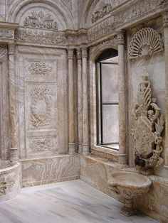 Dolmabahce Palace in Istanbul. The flawless marble looks fake and photo shopped. It is crazy to think it is hand carved.
