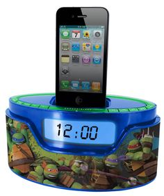 Radio reloj despertador + cargador iPhone & iPod. Las Tortugas Ninja