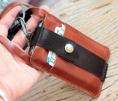 Cartera de cuero marrón chocolate iphone con por SakatanLeather