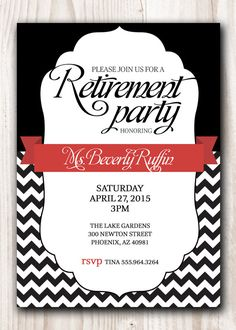 RETIREMENT PARTY Invitation Black with a touch by ScriptureWallArt, $12.00