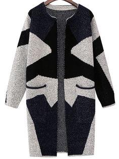 Black Grey Long Sleeve Geometric Print Cardigan 19.00