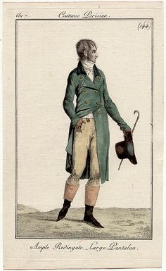 Journal des Dames et des Modes, 1798 Sadly, I have very few fashion plates that have men in them, but I'm posting this one as a thank you to all my new guy followers on Facebook!  I'll try to find some more for y'all!