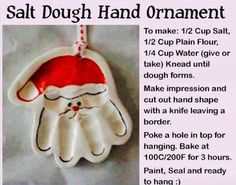 Handprint Santa ornament made from easy dough recipe. What a perfect preschool and kindergarten classroom activity.. that would also make a sweet Christmas holiday present for parents! :)