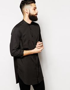 Image 1 of ASOS Shirt With Grandad Collar In Super Longline