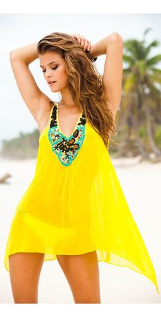 #Sauvage 2014 Canary Jeweled Silk #Tunic 4500CYL  #southbeachswimsuits