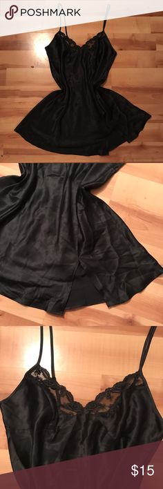 silky victorias secret slip omggg the moment i saw this slip i was in LOVE but its not my size :( so im gonna let one of you ladies have it excellent condition, like new! ***waist is not cinched i just bunched it up so you could better see the shape & side slit***  dont forget you can bundle & save 20%! free shipping on depop • vs satin lingerie chemise teddy sleepwear shapewear lounge pajamas sexy lace black :) Victoria's Secret Intimates & Sleepwear Chemises & Slips