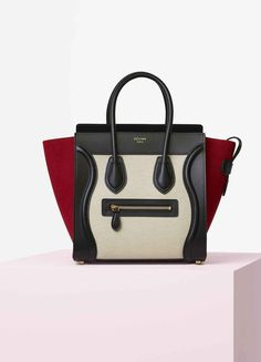 Micro Luggage Handbag in Multicolour Textile - Céline