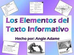 Los estudiantes practican el uso de los elementos del texto informativo como los títulos, tabla de contenidos, fotografías, encabezamientos/subtítulos, leyendas/pie de la foto, diagrama, glosario, ĺndice, y la escritura especial.