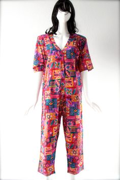 Your place to buy and sell all things handmade Vintage Jumpsuit, One Piece, Button Up, Rompers, The Originals, Sleeves, Cotton, Shopping, Dresses