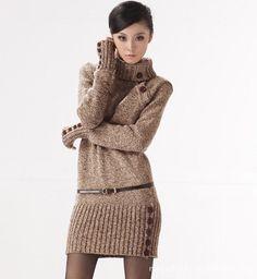 2015 mujeres del invierno de largo tramo diseño de cuello alto vestido de suéter caliente espesa Pullover Crochet Jumper punto Outwear