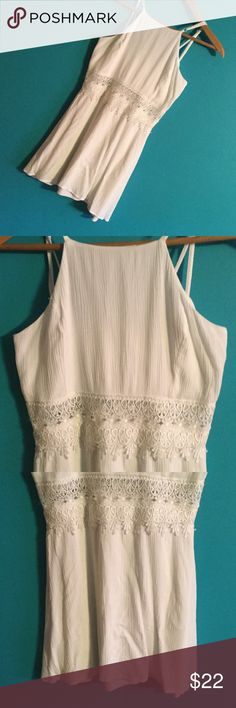 SUPER CUTE! Soul mates white dress w/lace EUC This is so adorable ..dual layered with zipper in back..mini dress size large jrs.. IN GREAT LOOKS NEW CONDITION!!!  WELCOME TO MAKE OFFERS Soulmates Dresses