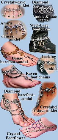 Chain-mail Slave Anklets, Barefoot Sandals and Boot Chains