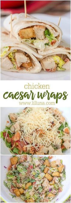 Chicken Caesar Wraps Recipe via lil' luna - simple, delicious and the perfect recipe for lunch, a light dinner or a picnic. - The BEST 30 Minute Meals Recipes - Easy, Quick and Delicious Family Friendly Lunch and Dinner Ideas