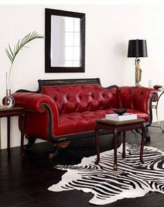 Old Hickory Tannery Red Tufted-Leather Loveseat - ShopStyle Sofas Leather Sofa And Loveseat, Tufted Sofa, Loveseat Sofa, Leather Sofas, Chesterfield Couch, Settee, Old Hickory Tannery, Leather Furniture, Nooks