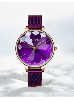 dc88216cc0b7 CIVO reloj de lujo mujer impermeable correa de malla de acero reloj de  pulsera de cuarzo