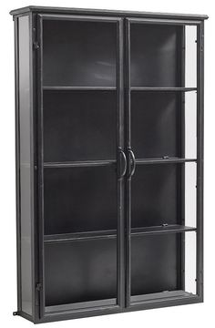 This spacious, distressed metal display cabinet is a highly practical purchase for today's lifestyle. Robust and hardwearing, it boasts three glass shelves and two glazed doors and is available in two colours. Perfectly fitting the industrial trend, it wi Small Cabinet, Tall Cabinet Storage, Locker Storage, Furniture For You, Luxury Furniture, Furniture Decor, Armoire Dressing Pas Cher, Wall Cupboards, Curio Cabinets