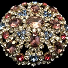 Stunning Gold Tone Purple, Pink, & Blue Glass Rhinestone Brooch Pin =)