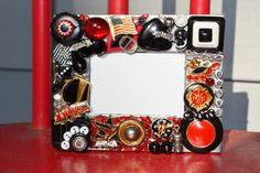 handmade firefighter mosaic frame