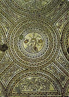 Roman mosaic from Hinton St Mary, Dorset. This mosaic is the earliest depiction of Christ found in Roman Britain and dates from the fourth century AD. The figure of Christ is flanked by two pomegranates and lies on the chi-rho symbol.