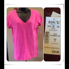 "Selling this ""Hot pink v neck New with tags size medium"" in my Poshmark closet! My username is: dkellim. #shopmycloset #poshmark #fashion #shopping #style #forsale #Tops"