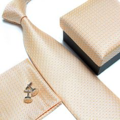 """This is a men's 100% silk jacquard woven necktie set. The set includes the coordinated silk neck tie, the pocket square (handkerchief), cuff links and gift box. Makes a great gift idea! The ties are brand new made of high quality silk and excellent interlining. The ties are heavily weighted and elastic, and are thereby easily made to knot. The Tie size is: 57.09""""(145 cm) in length and 2.44"""" (7 cm) in Width The Pocket Square (Handkerchief) size is: 22 x 22cm ✨Please note, t..."""