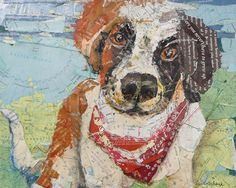 'Bernie Was All Over the Map' TORN PAPER COLLAGE (MAPS) - by Susan Schenk