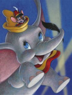 Dumbo was the cheapest Disney film of its time. They cut down on runtime, (making it 64 minutes) & special effects. It was effective however as Dumbo became a financial success! (& my favorite movie too! Disney Films, Disney Pixar, Dumbo Disney, Walt Disney Characters, Disney Posters, Disney Cartoons, Disney Magic, Disney Art, Disney Paintings