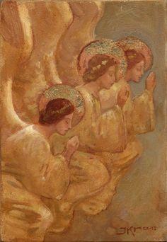 three Angels Kneeling - by J. Kirk Richards