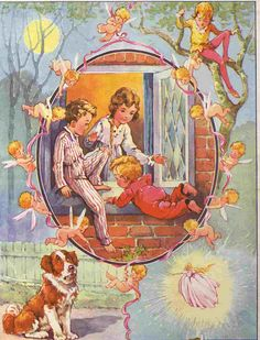 vintage Peter Pan and Wendy book illustration, from Great Ormond Street Hospital Childrens Charity, via Flickr. Illustrator uncredited, but I think it looks like the work of A. E. Kennedy.