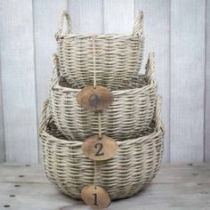 Wicker baskets with numbers