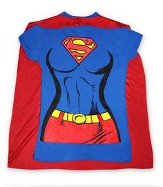 Camiseta chica traje con capa Superman