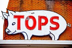 Tops BBQ sign - Memphis, Tn -It would be fun to make a silly sign like this, and make it relevant, to put in the classroom. Or just draw it on the board one day.-