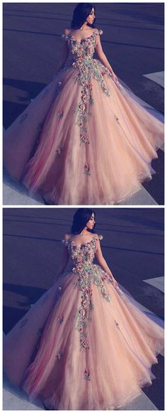 Champagne off shoulder tulle long prom dress, tulle champagne evening dress #promdresses #longpromdresses #2018promdresses #2018newstyles #fashions #styles #hiprom #champagne