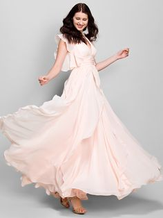 Ankle-length Chiffon Bridesmaid Dress - Pearl Pink A-line V-neck - USD $ 119.99