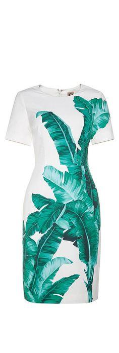 White Banana Leaf Print Sheath Dress