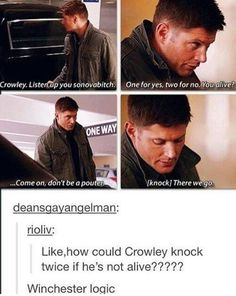 I love that Crowley caved in and knocked