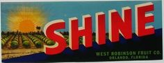 3.25X9 SHINE, Vintage Orlando, Florida Citrus Crate Label, horizontal